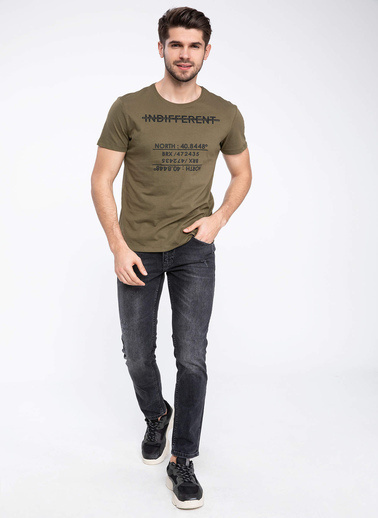 DeFacto Baskılı Slim Fit T-shirt Haki